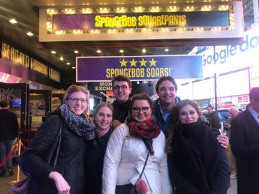 Spongebob Musical on Broadway with Met Così cast, Serena Malfi, Ben Bliss, and Adam Plachetka