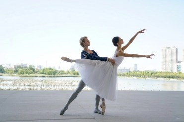 La Scala in Tianjin - Nicoletta Manni and Timofej Anrdijashenko in front of the Grand Theatre, photo by Donita Xie