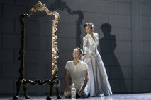 Matthew Bourne's SWAN LAKE. Liam Mower 'The Prince' and Nicole Kabera 'The Queen''. Photo by Johan Persson