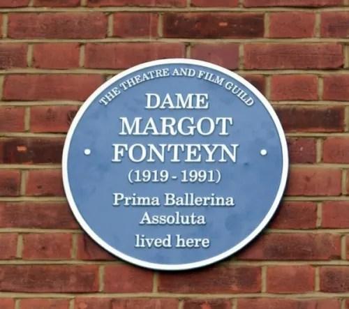 Margot Fonteyn's blue plaque