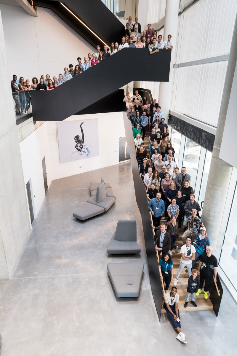 English National Ballet dancers and staff gather in the Dorfman Foyer to mark the start of the new season in Company's new building on London City Island.