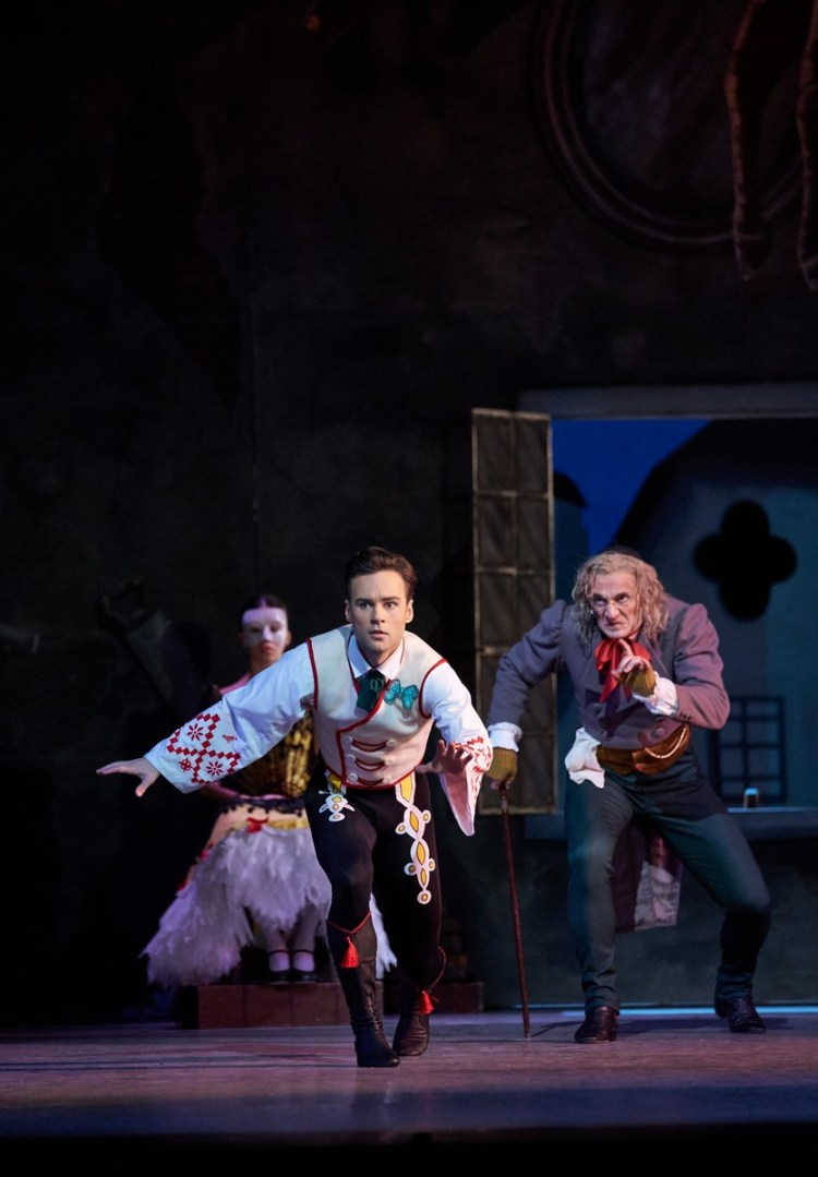 Coppelia. Alexander Campbell as Franz and Gary Avis as Dr Coppelius. (c) ROH, 2019. Photographed by Bill Cooper.