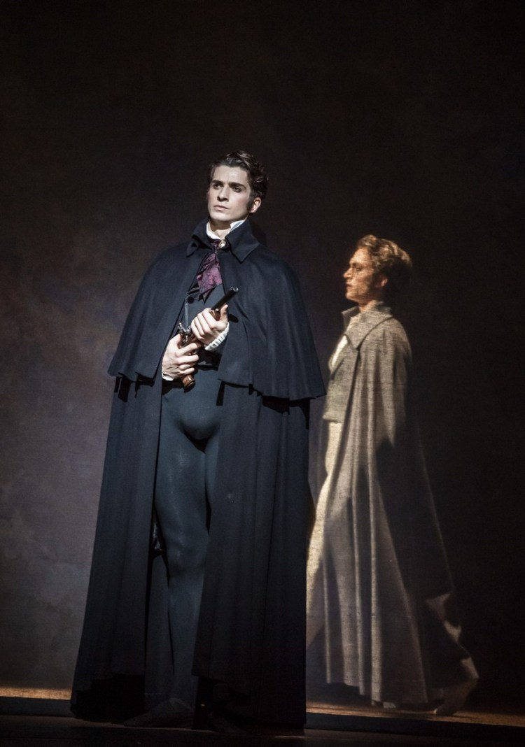 Onegin with Reece Clarke as Onegin and Matthew Ball as Lensky © ROH, 2020. Photographed by Tristram Kenton
