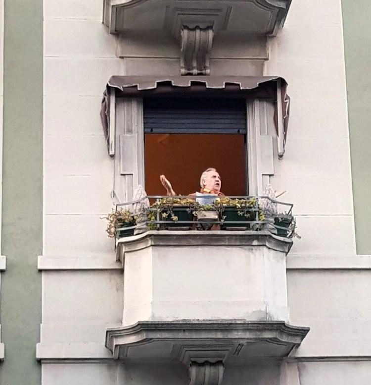 Armando Ariostini on his balcony