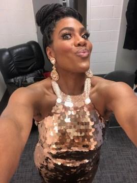 J'Nai Bridges backstage