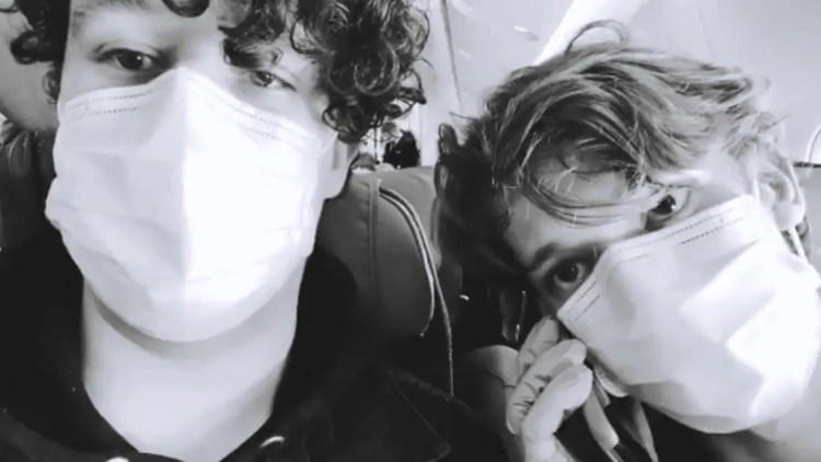 Julian and Nicholas MacKay on the Aeroflot plane