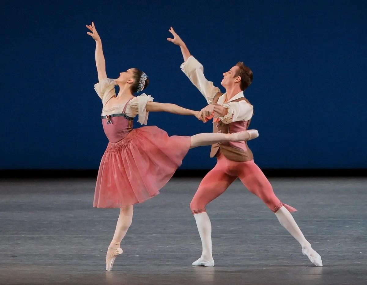 Ashley Bouder and Andrew Veyette in George Balanchine's Donizetti Variations, photo by Paul Kolnik
