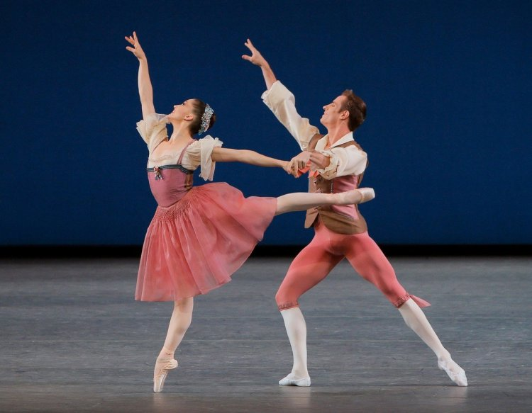 Ashley Bouder and Andrew Veyette in George Balanchine's Donizetti Variations, photo by Paul Kolnik