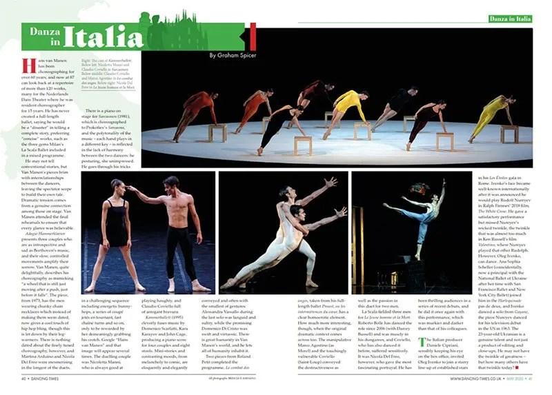 Danza in Italia, May 2020 spread