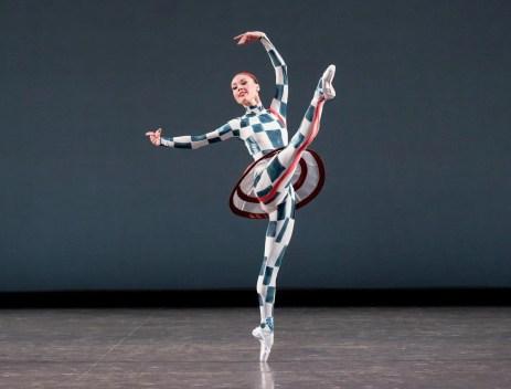 Emilie Gerrity of New York City Ballet in Justin Peck's Pulcinella Variations, photo by Paul Kolnik
