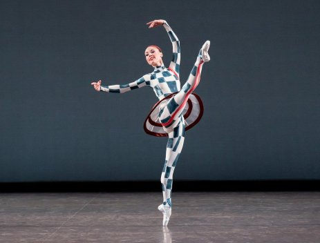 Emilie Gerrity of New York City Ballet in Justin Peck's Pulcinella Variations, photo by Paul Kolnik