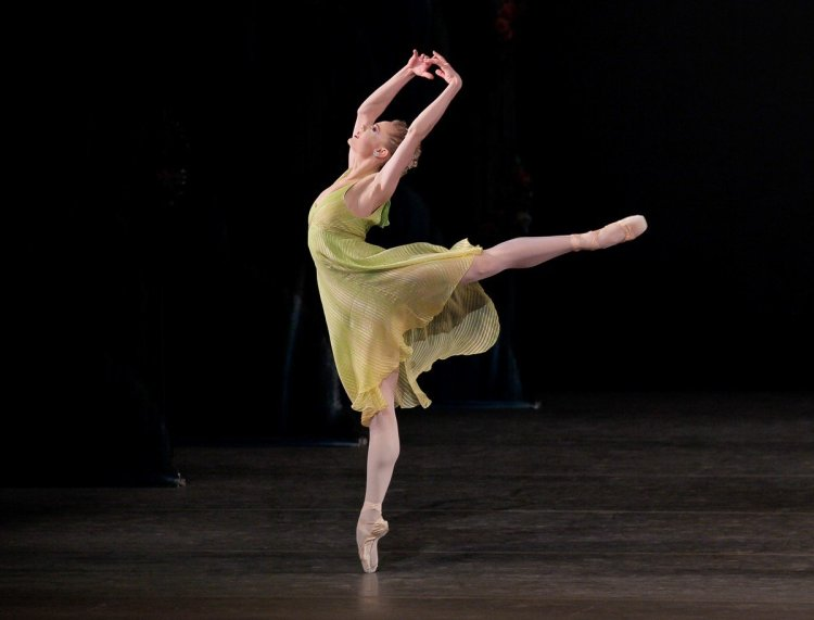 "Sara Mearns of New York City Ballet in ""Spring"" from Jerome Robbins' The Four Seasons, photo by Paul Kolnik"