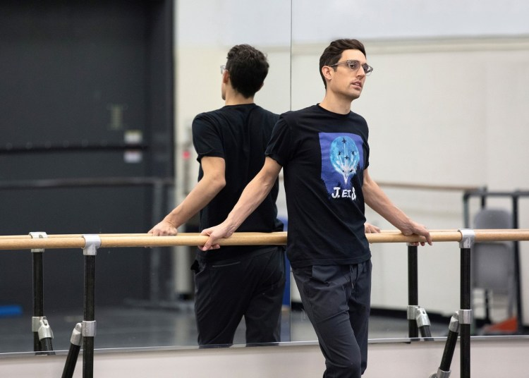 Justin Peck rehearsing with NYCB, photo by Erin Baiano