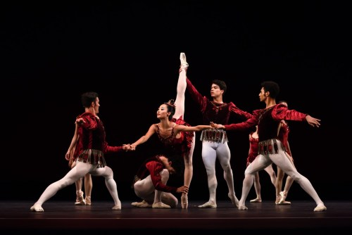 San Francisco Ballet in Balanchine's Rubies, Choreography by George Balanchine © The Balanchine Trust; Photo © Erik Tomasson