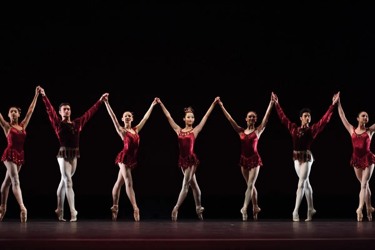 San Francisco Ballet in Balanchine's Rubies, with Choreography by George Balanchine © The Balanchine Trust; Photo © Erik Tomasson