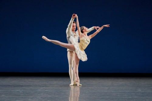 Tiler Peck and Andrew Veyette of NYCB in Divertimento No. 15, photo by Paul Kolnik