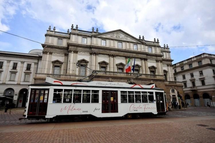Carla Fracci's tram outside La Scala