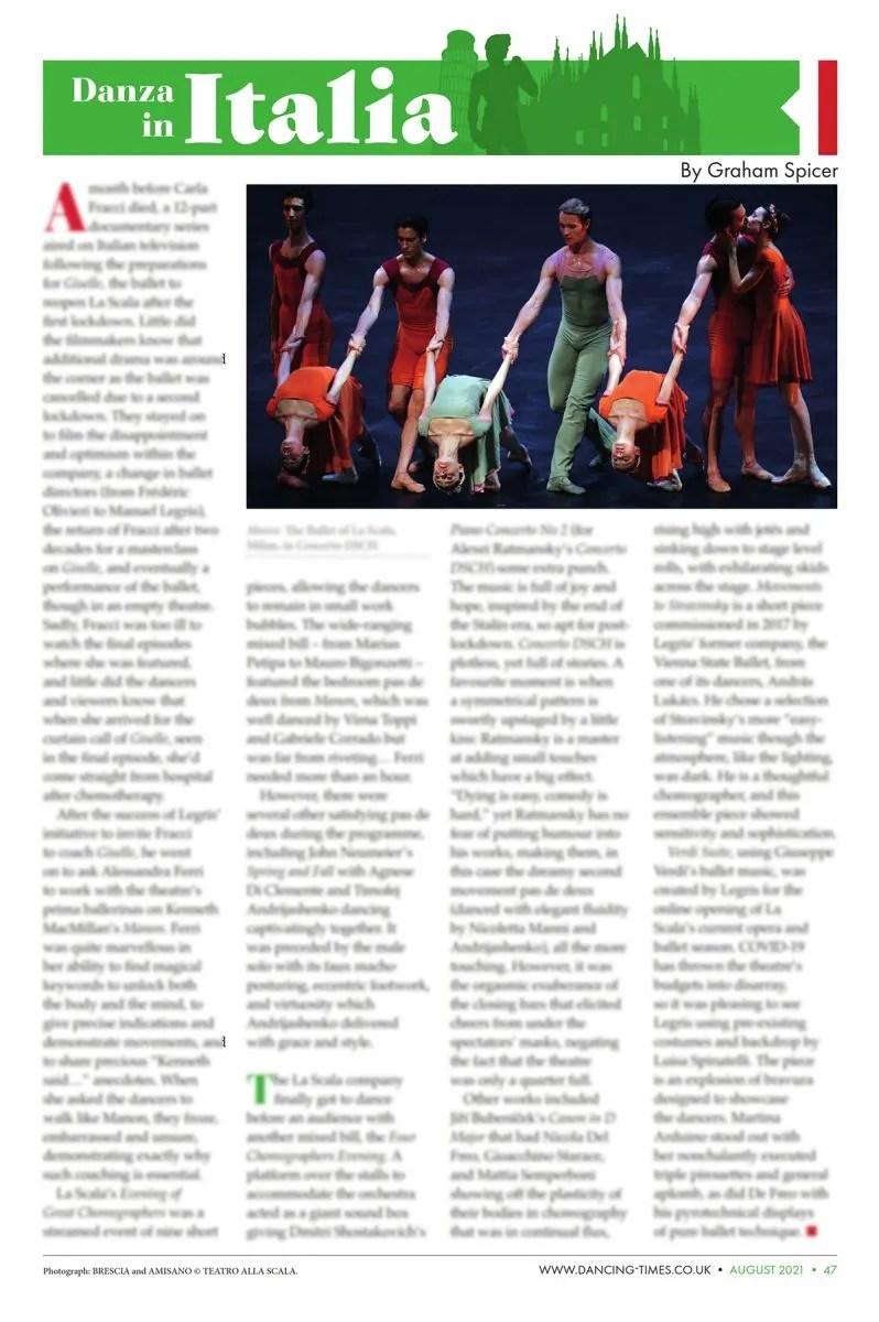 Dancing Times, Danza in Italia - August 2021