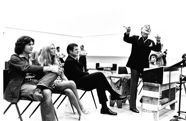 Bernstein MASS 1971 rehearsal with Alan Titus, Joan and Ted Kennedy, and Leonard Bernstein (by Fletcher Drake) Courtesy of the Kennedy Center Archives