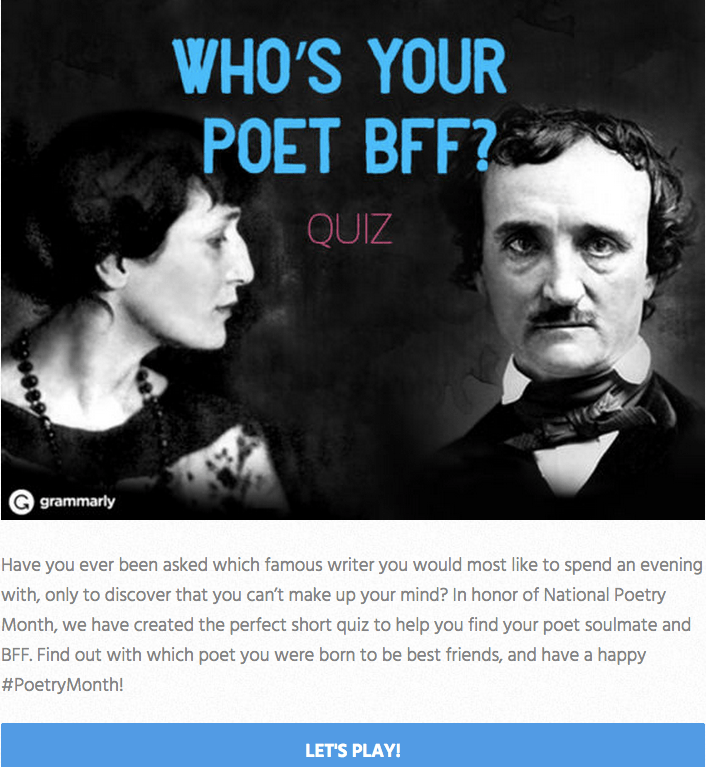 Grammarly Poet BFF Quiz Invitation Image