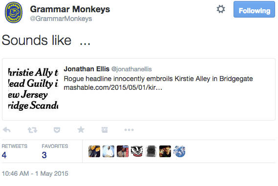 Grammar Monkeys Tweet Sample