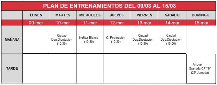 plan-entrenamientos-09-15 marzo Granada B