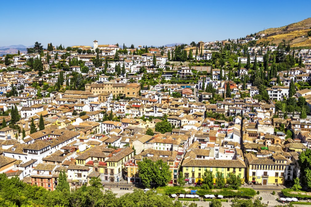 Bird view of the Albaicin in Granada as seen from Alhambra tower