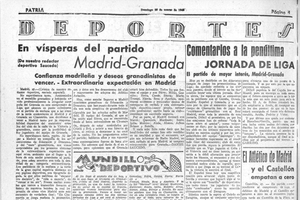 Recorte del diario 'Patria' con la previa del Madrid-Granada. BVA