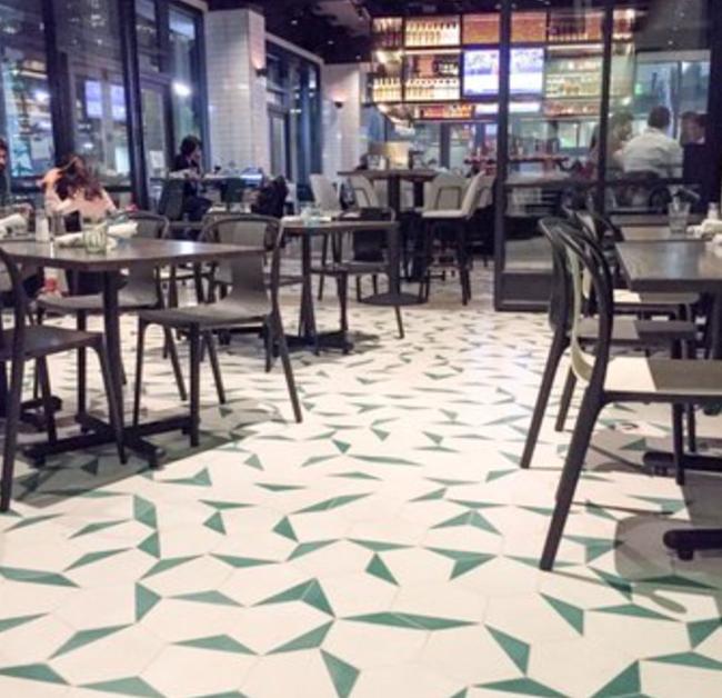 a hexagon cement tile floor