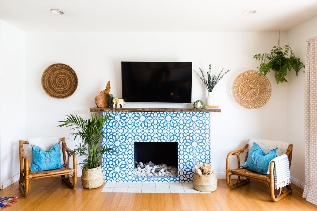 an alhambra cement tile fireplace in a