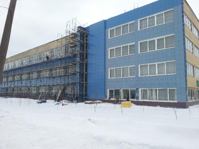 Монтаж фасада фабрики г.Медынь