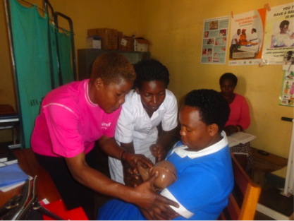 Health care workers receive specialized training on maternal and newborn care. Photo courtesy of Amref Health Africa in Uganda