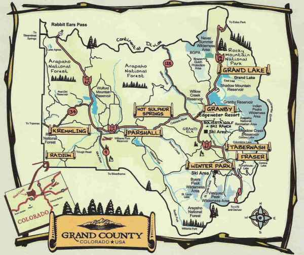 Map of Grand County Colorado