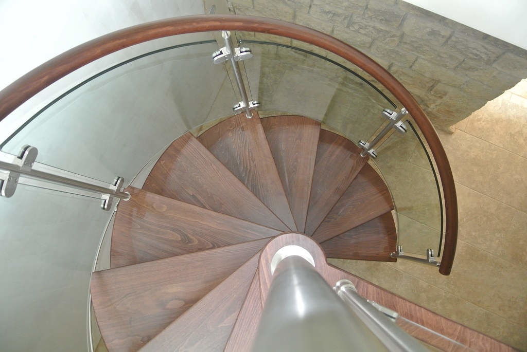 Curved Glass Stairs Modern Helical Crystal Staircases | Oak Handrail For Glass | Cottage Style | Glass Railing | Red Oak | Landing | Stair Railing