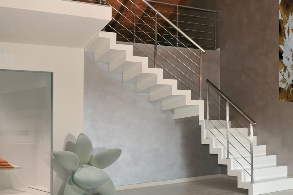 Zig Zag Stairs And Closed Risers Floating Staircases | Zig Zag Stair Carpet | Winding Staircase | Geometric | Metal Bar On Stair | Red | Traditional