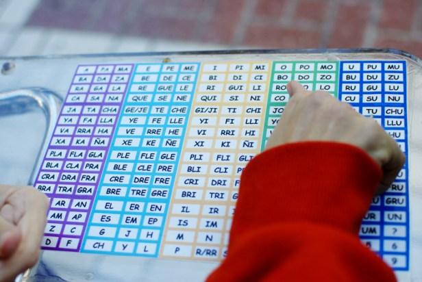 El tablero silábico, compuesto por sílabas, permite a Estela comunicarse.