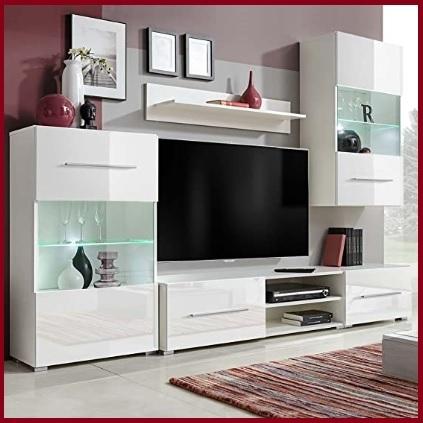Mobili soggiorno noa gihome ® bianco parete attrezzata porta tv vetrina moderno. Soggiorno Parete Attrezzata Moderna Con Vetrine Grandi Sconti Arredare Casa