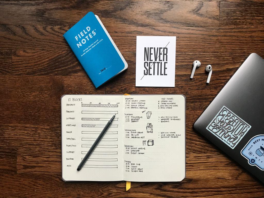planner with written goals. work smart.