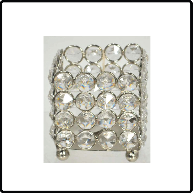 Square Crystal Beaded Votive Holder