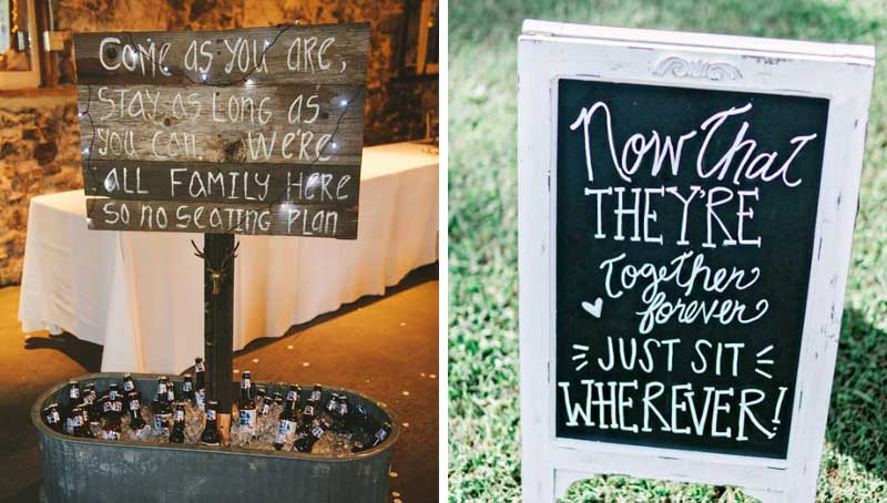 wedding ceremony seating signs