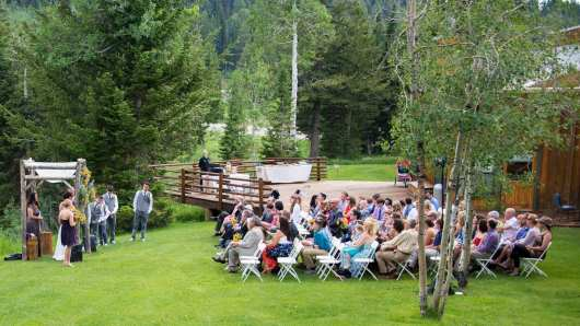 Ceremony Teewinot deck and lawn