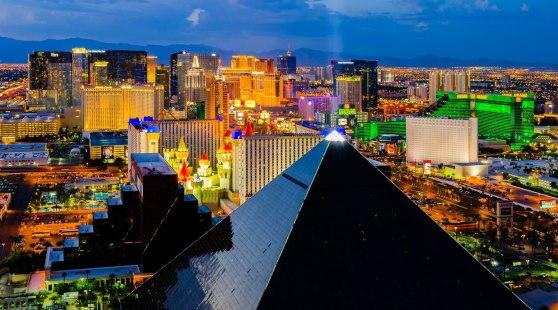 Aerial view of the Las Vegas Strip at night.