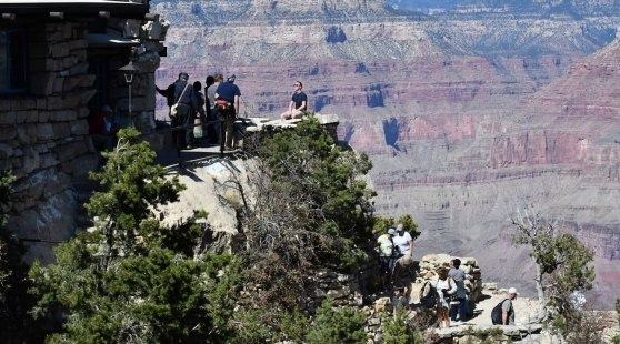 The Lookout Studio at the South Rim is a favorite spot for people taking Grand Canyon tours from Las Vegas.