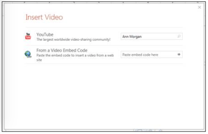 Embed Online video options in Powerpoint; Choices are YouTube or from a Video Embed Code