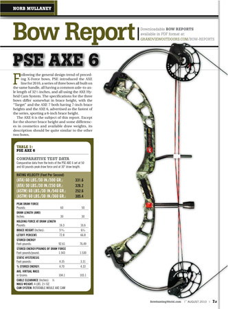 PSE Axe 6 bow report