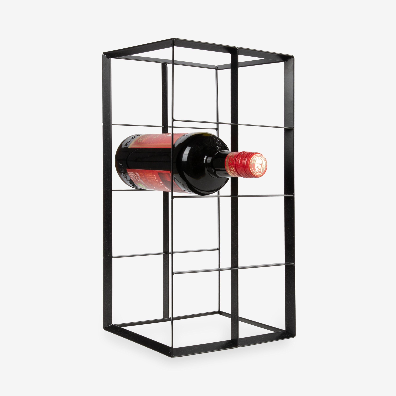 wine rack metal black 8 bottles