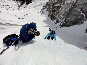 Jim Surette films Hugo Harrison on Standard Route, Huntington Ravine, Mt. Washington, New Hampshire