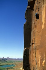 Janet Bergman climbs Scarface in Indian Creek, Utah