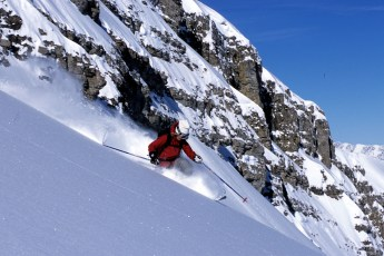 Susanna Magruder finding the powder, Jackson Hole backcountry, Wyoming