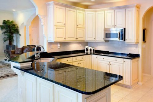 Dark Granite Countertops - Photos of Cabinet Combinations ... on Backsplash For Black Granite Countertops And White Cabinets  id=95504